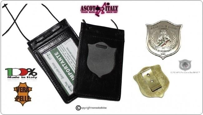 Porta Placca Portaplacca da Collo Guardie Giurate Incaricate di Pubblico Sevizio GPG IPS Pantera Ascot Italia Art.602GPG