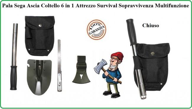 Pala Sega Ascia Coltello 5 in 1 Attrezzo Survival Sopravvivenza Multifunzione Militare Caccia Pesca Montagna MFH Art.27037