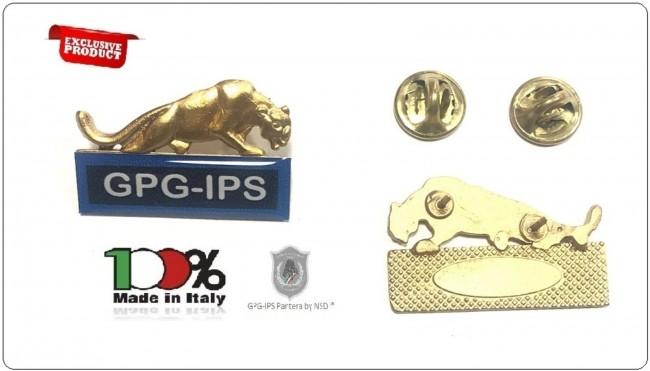 Spille Qualifiche e Specialità per Divise Corpi Polizia Uniformi Istituti di Vigilanza Guardie Giurate GPG IPS G.P.G I.P.S Pantera ® ORO + BLU  Art.GPG-PANT-1