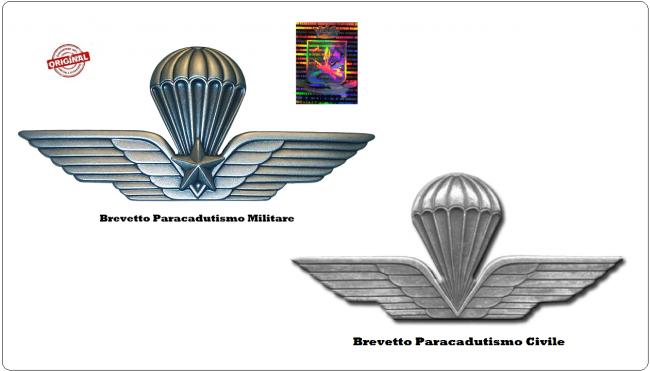 Spilla Brevetto Giacca Paracadutista Militare o Civile da Camicia Prodotto Ufficiale Italiano Art.NSD-PARM-CAM