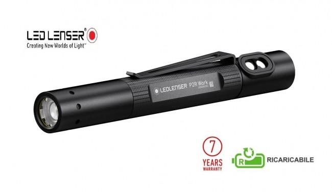 Torcia Tattica Professionale Manuale 110 lumen P2R Work Ricaricabile  Led Lenser® Polizia Carabinieri Guardie Giurate GPGIPS Art. 502183