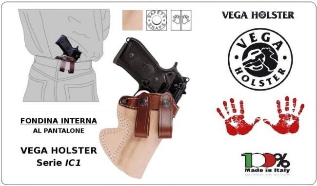 Fondina Uso Interno Porto Occulto Agenti Sicurezza Pelle Marrone Vega Holster Italia Art.IC1