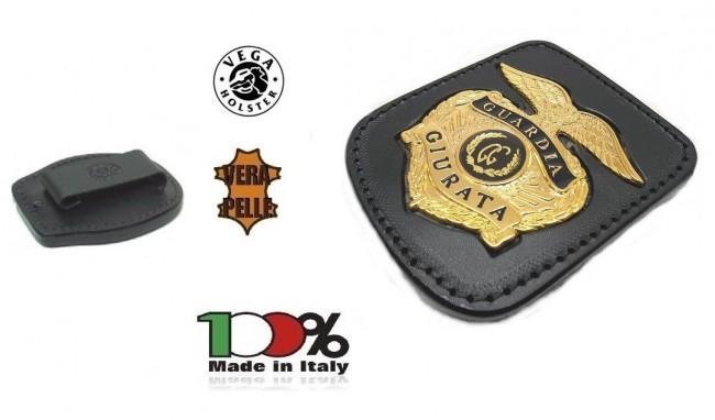 Placca Da Cintura in Cuoio con Placca Metallo Modello Polizia Americana Guardia Giurata Vega Holster Italia Art. 1WA73