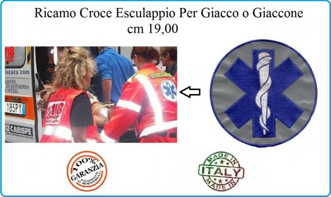 Ricamo Esculappio Esculapio Gigante Rifrangente Ricamato su tessuto 3M®  cm 19 Per Giacca o Tuta Soccorritore  Art.RICEX