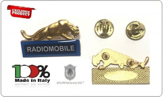 Spille Qualifiche e Specialità per Divise Corpi Polizia Uniformi Istituti di Vigilanza Guardie Giurate GPG IPS G.P.G I.P.S Pantera ® RADIOMOBILE ORO + BLU  Art.GPG-PANT-6