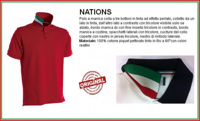Polo Manica Corta Rosso Red Modello NATION Italia Collo Tricolore Art.NATION-4