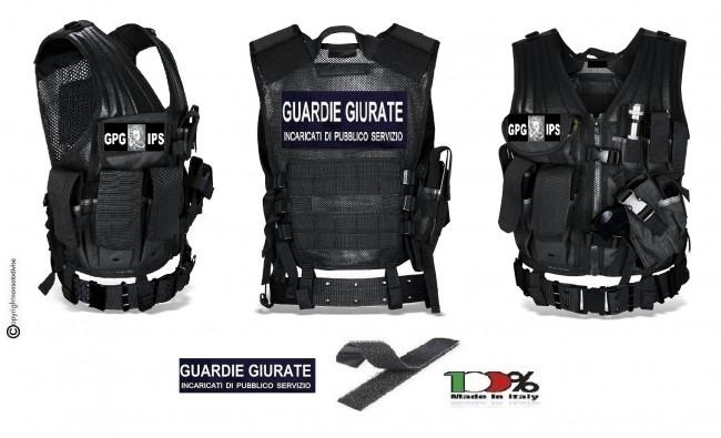 Tactical Vest Gilet Tattico Modulare Corpetto Tattico Mil-Tec Nero Guardia Particolare Giurata GPG IPS Aquila Art. 10720002-GPGIPS
