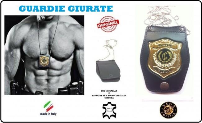 Portaplacca Doppio Uso Collo - Cintura Guardie Giurate Vega Holster Italia Art.1WB110