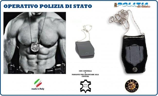 Portaplacca Porta Placca Porta Distintivo Doppio Uso Collo e Cintura Polizia di Stato Operativo Vega Holster Italia Art.1WB51