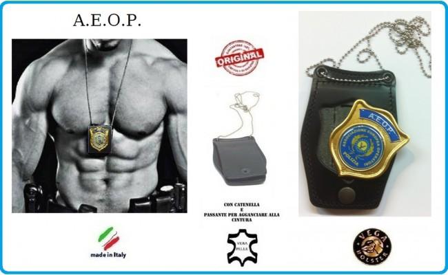 Portaplacca Doppio Uso Collo - Cintura A.E.O.P. Placca Estraibile Vega Holster Italia Art.1WB-AEOP