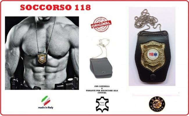 Portaplacca Doppio Uso Collo - Cintura Soccorso Sanitario 118  Vega Holster Italia Art.1WB116