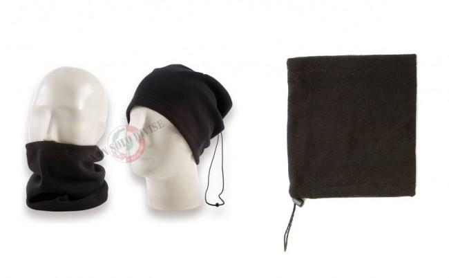 Scaldacollo Scalda Collo Pile Doppio Uso Berretto o Collare  Nero Senza Loghi Neutro Art.NSD-B-NN
