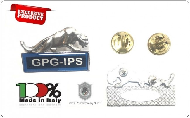 Spille Qualifiche e Specialità per Divise Corpi Polizia Uniformi Istituti di Vigilanza Guardie Giurate GPG IPS G.P.G I.P.S Pantera ® ARGENTO + BLU  Art.GPG-PANT-3