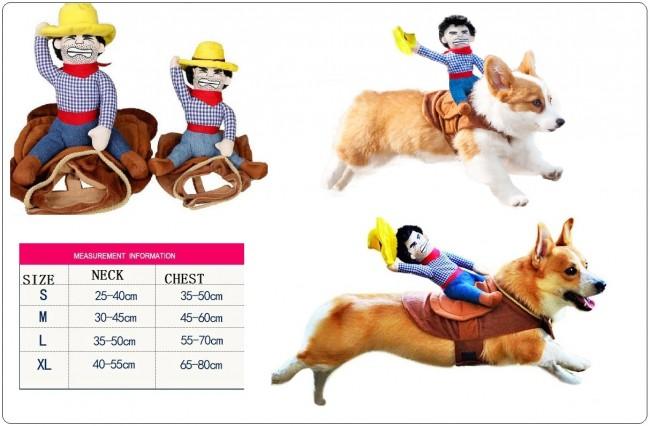 Pet Costume Dog Costume Vestiti Pet Outfit Vestito Stile Cowboy Rider, Adatti per Cani Art.CANE-2