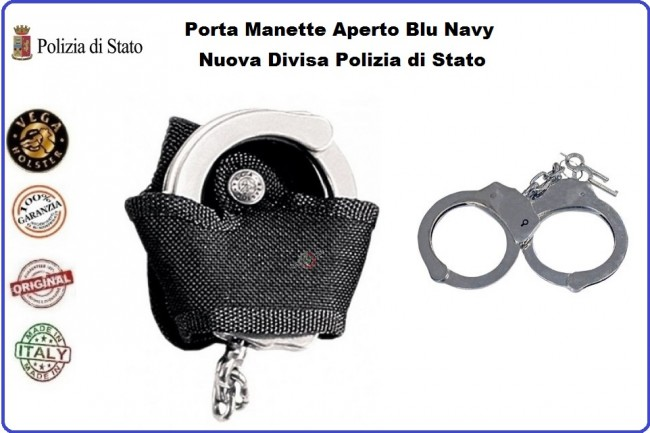 Portamanette Porta Manette Aperto Vega Holster Italia Blu Nevy Nuova Divisa Polizia di Stato Art.2P77B