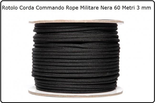 Corda Cordino Modello Paracord Commando Rope Colore Nero Rotolo da 60 Metri da 3 mm Fosco Art.319438
