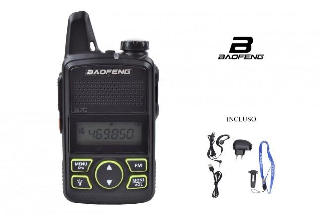 Ricetrasmittente Mini Poco Ingombrante Potentissima Batteria Ricaricabile e Auricolare Compreso BAOFENG  FM/UHF Vigilanza Polizia Privata Sicurezza  Art. BF-T1