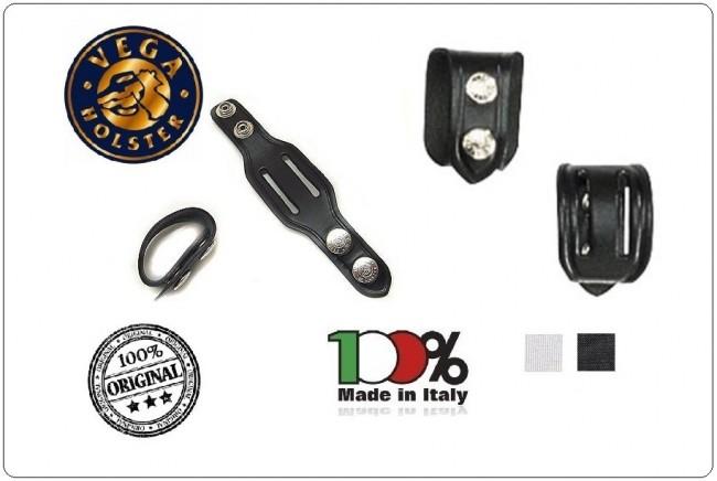 Passante per Cinturone Distanziali Doppia Asola Doppio Bottone Pelle Neri o Bianchi Confezione 1 pezzo Vega Holster Italia Art.1V01-1