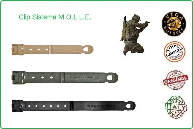 Clip Nera Verde Kaky mm 60  75  125 Per Sistema MOLLE Universale Vega Holster Italia Art.2SM