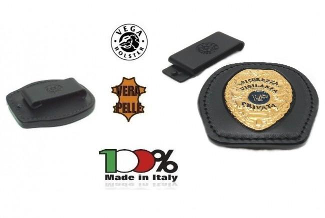 Placca Da Cintura in Cuoio con Placca Metallo Sicurezza Vigilanza Privata Vega Holster Italia Art. 1WA48