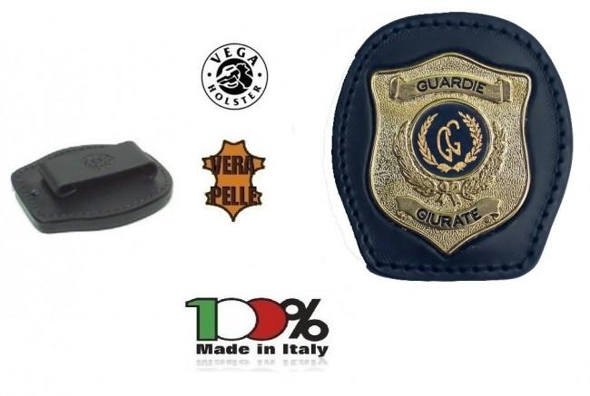 Placca Da Cintura in Cuoio con Placca Metallo Guardia Giurata Vega Holster Italia Art. 1WA110