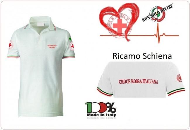 Polo Bianca Manica Corta Croce Rossa Italiana Nuovo Capitolato Scritte e Loghi Ricamati Art.SS-POLO-CRI
