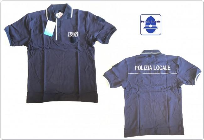 Polo Blu Nevy Bordi Argento Nuovo Modello Unificato Italia POLIZIA LOCALE  VENDITA RISERVATA  Art.NSD-POLO-PL