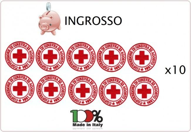 Patch Toppa Ricamata con Velcro Croce Rossa Italiana CRI 22 Agosto 1864 CONVENZIONE DI GINEVRA INGROSSO x 10 pezzi  DAE Art.ING-CRI