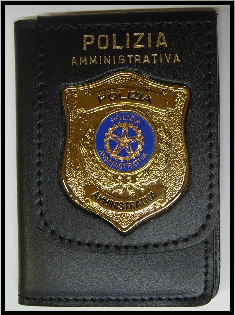 Pelle Pieno Fiore : Portafoglio portadocumenti con placca polizia