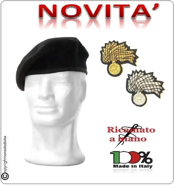 Basco Spagnolo Nero con Fregio Carabinieri CC Ricamato a Mano Riforma Nuovi  Gradi FAV Italia Art.CC-BASCO-NEW 251860f7226d