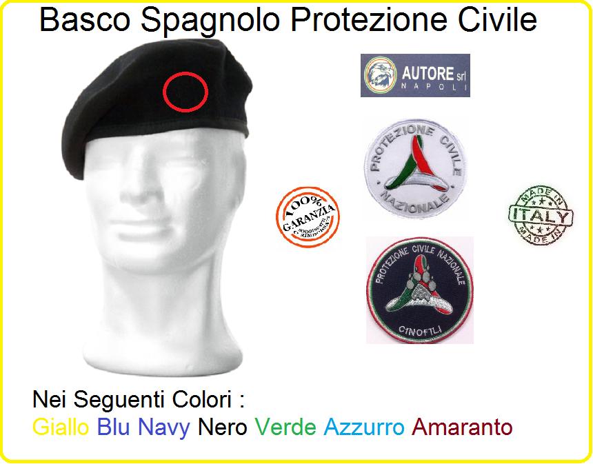 Basco Spagnolo con Fregio Ricamato Protezione Civile Nazionale o ... 03a5b5dc2d55