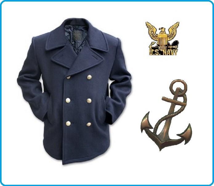 huge selection of 40cba fccfa Giacca Giaccone Cappotto Marina Marinaio Vintage Navy Pea ...