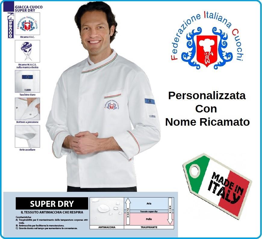 Giacca Cuoco Chef Bilbao Superdray Federazione Italiana Cuochi FIC Prodotto  Ufficiale By Isacco Art.059398 4c5ea2fc9d1f