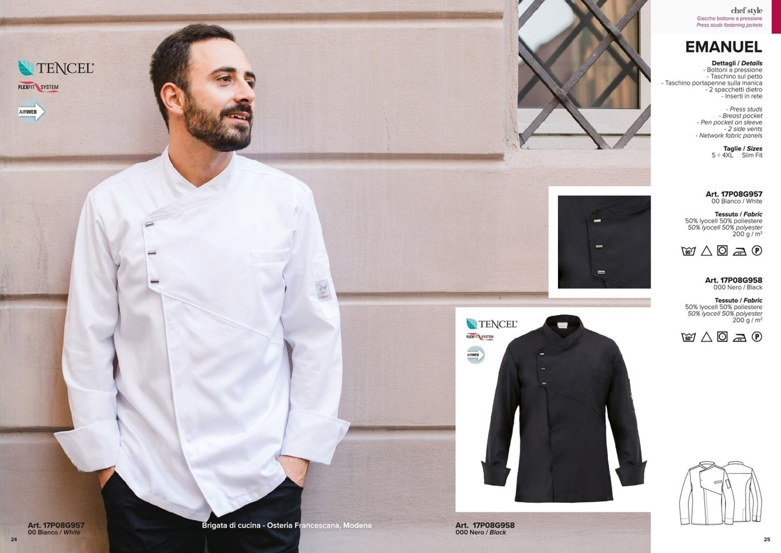 ... Giacca Cuoco Chef Bianca o Nera EMANUEL Possibilità di  Personalizzazione con Nome Ricamato Giblor s Art. ... 8015258046ed