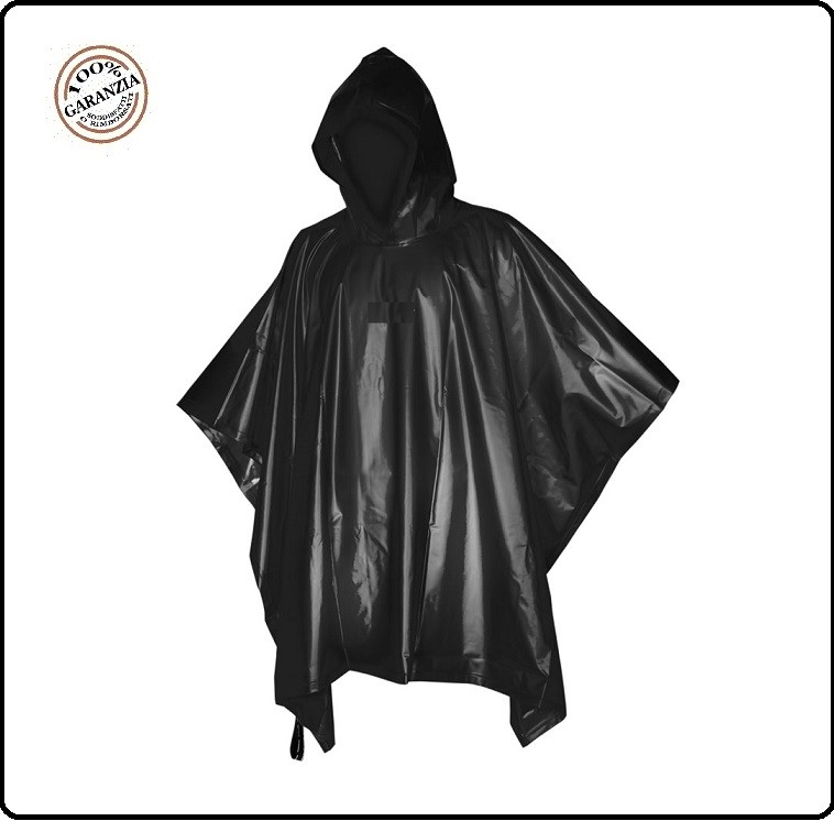 sale retailer 8ffd5 52eb5 Telo Poncho Rip Stop Impermeabile Antipioggia Nero Pioggia ...