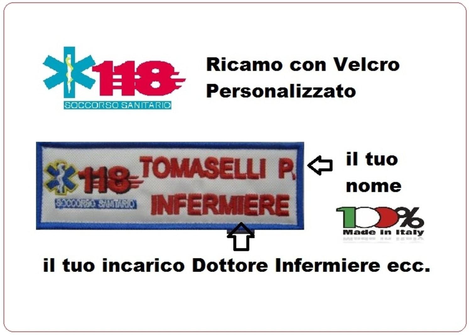 Top Coppia Patch Targhette con Velcro 118 Soccorso Sanitario  TS08