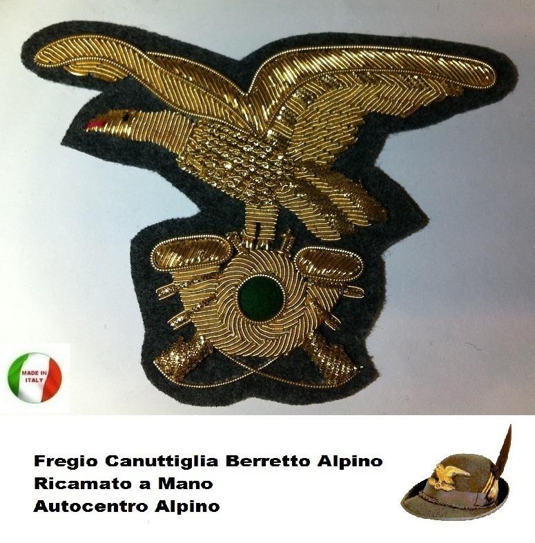 Fregio Canuttiglia Alpino Dorato Ricamato a Mano Art.NSD-Alpini-D ... fc309275d354