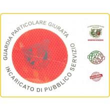 Adesivo 3M Per Paletta Rosso G.P.G. I.P.S. Guardia Particolare Giurata Incaricato di Pubblico Servizio Art.R00129