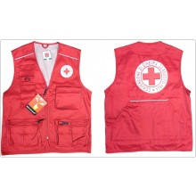 Gilet Smaniato New Safari Rosso Con Ricami Croce Rossa Italiana C.R.I. Art.987532CRI
