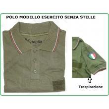 Polo Nuovo Modello Verde Ricamata Esercito Italiano Manica Corta SBB Senza Stelle LIBERA VENDITA  Art.POLO-EI-120