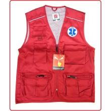 Gilet New Safari Rosso Con Ricami Croce Esculappio Petto Schiena  Art.987532-118CRS