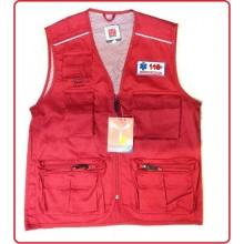 Gilet New Safari Rosso Con Ricami 118 Soccorso  Petto Schiena  Art.987532-118RS
