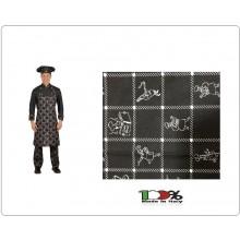 Grembiule Cucina Pettorina cm 90x70 Cuochi Stilizzati Bianchi Colombo Mario Italia Art. 0220765