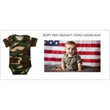 Body per Neonati Camo Militare Woodland Baby Romper With Sleeve Made of Art.114301