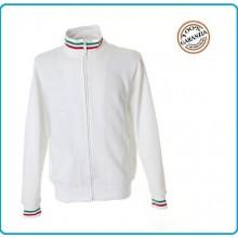 Felpa Maglione Con Cerniera e Bordino Tricolore New Venezia White Bianca Art.987853