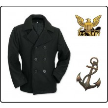 Giacca Giaccone Cappotto Marina Marinaio Vintage Navy Pea Coat Marine Army Nero Bottoni Neri Art.09015G