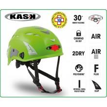 Casco Protezione Verde PLASMA HI VIZ KASK ITALIA Soccorso Alpino e Speleologico  Art.WHE00009-SAS