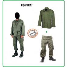 Completo BDU Giacca + Pantaloni Cargo Colore Verde OD Guardie Giurate Vigilanza Venatoria Caccia Soft Air FOSTEX Art.125432V