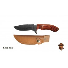 Coltello Lama Fissa con Fodero Pelle Caccia Pesca Knife With Fixed rip Blade Mil-Tec Art. 15385000