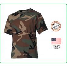 T-shirt Maglia Maglietta Girocollo Militare Manica Corta Camo Woodland  Art.00103T
